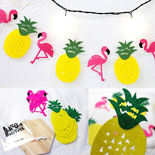 UNAKIM--1set Flamingos Pineapple Garland Banner Birthday Beach Summer Hawaii Party Decor by UNAKIM