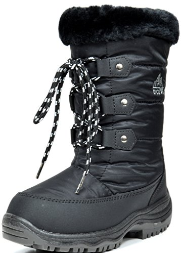 [ARCTIV8 NORDIC New Girls Insulated Faux Fur Lining Insole Lace Up/Zipper Warm Winter Snow Skii Boots BLACK Size 12] (Winter Warm Zipper Closure)
