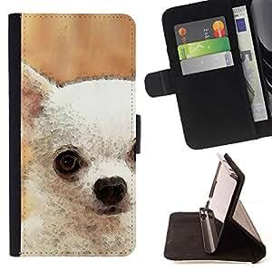 Momo Phone Case / Flip Funda de Cuero Case Cover - Chihuahua blanco del arte Pintura del perro; - Apple Iphone 4 / 4S