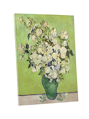 Niwo Art - Pink Roses in a Vase, by Vincent Van Gogh - Oil Painting Reproductions - Giclee Canvas Prints Wall Art for Home Decor, Stretched and Framed Ready to Hang (16 x 20 x 1.5 Inch)