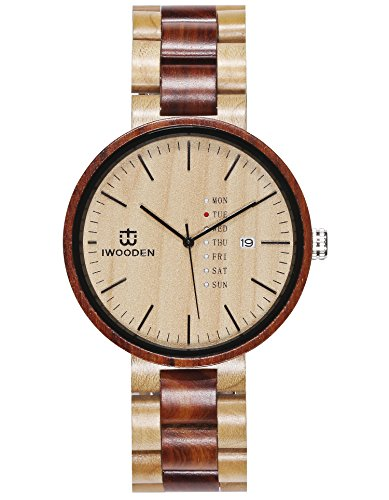 Wood Watch for Men Quartz Waterproof Wrist Wooden Mens Watch Clearance Gifts for Men with Watch Case Valentines Day Gift for Him or Her