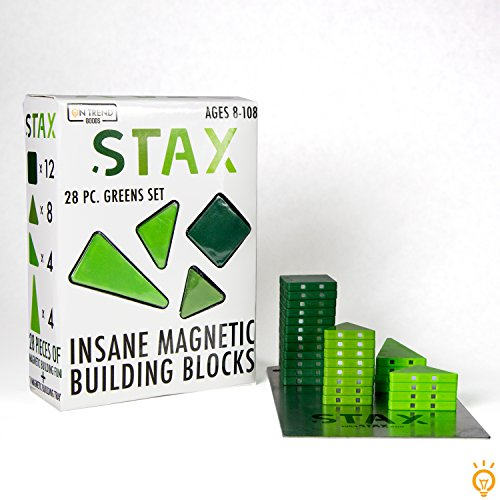 Green Building Blocks - STAX 28pc Insane Magnetic Building Block Set (Greens)