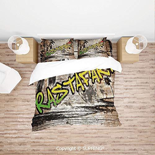 SCOXIXI 3D Bedding Sets Jamaican Reggae Music Icon Inspired Rastafari Street Graffiti Image Decorative (Comforter Not Included) Soft, Breathable, Hypoallergenic, Fade Resistant