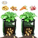 Besiva Potato Grow Bag 2-Pack 7 Gallon Garden Vegetables Planter Bags with Flap and Handles Heavy Duty Suitable for Potato, Carrot, Tomato, Onion and so on