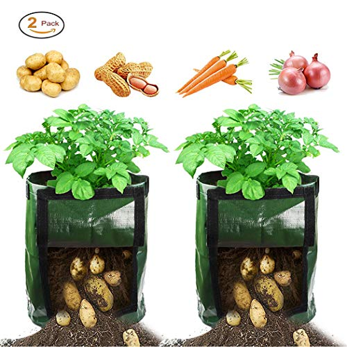 Grow Bags, Potato Grow Bags 2-Pack, Garden Planter Bags with Flap and Handles Heavy Duty Suitable for Potato, Carrot, Tomato, Onion and so on