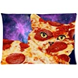 Food Funny Galaxy Pizza Cat Bedding Pillowcase Pillow Case Zippered Cushion Throw Case Pillow Case 18X18 inch (one side) Best Gift