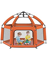 """Upwsma Foldable Portable Baby Playpen Tent- Large playpen, Lightweight, 63"""", Play Yard Crib for Indoor & Outdoor Kids Activity Center - Baby Playpen with UP Shade Cover for Any Baby or Small Child"""