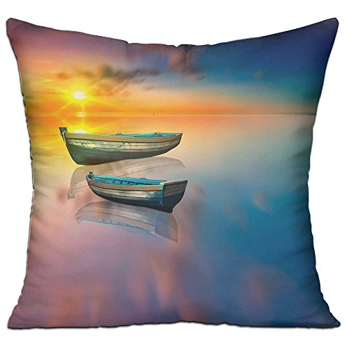 Lyle Clegg Pillows Filling Stuffing Linen Durable Boat Lake Water Reflection Sun Cushion Insert Filler Square (Deck Chairs Lounge Boat)
