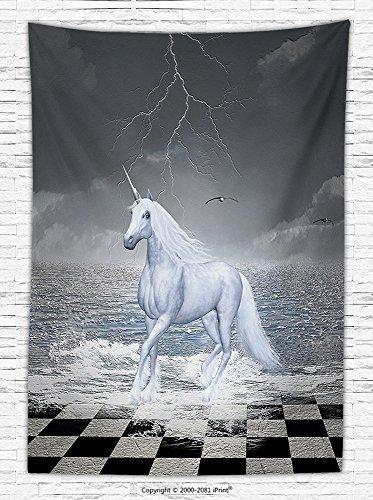 Unicorn Home and Kids Decor Fleece Throw Blanket Digital Surreal Sea on Chessboard with Horse Pegasus Myth Print Throw Blanket Grey White