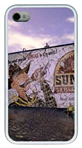 Iphone 4/4s Cover Fallout New Vegas Sunset, DIY White Skin Sides TPU Protected Case of Cecilydreaming