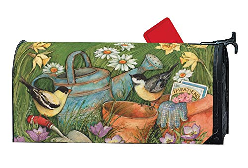Weather Vinyl Mailbox Cover - MailWraps Studio M Garden Visit Decorative Spring Summer Birds Oversized, The Original Magnetic Mailbox Cover, Made in USA, Superior Weather Durability, Large Size fits 8W x 21L Inch Mailbox