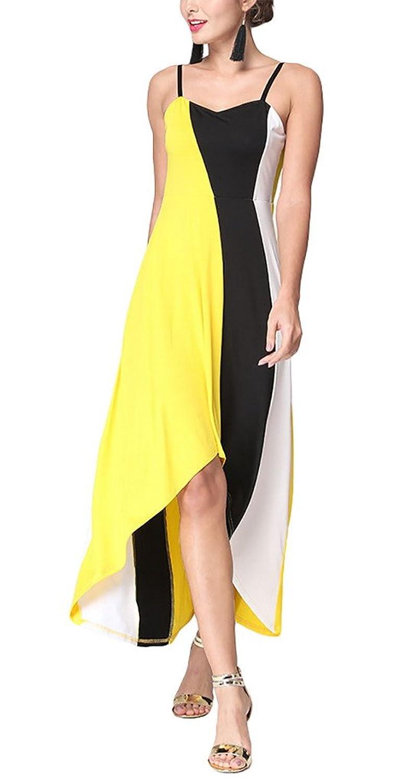Aivtalk Damen Casual Party Maxi Ohne Ärmel Hohe Taille Asymmetrisches Kleid mit Trägern - Gestreift Gelb & Weiß & Schwarz