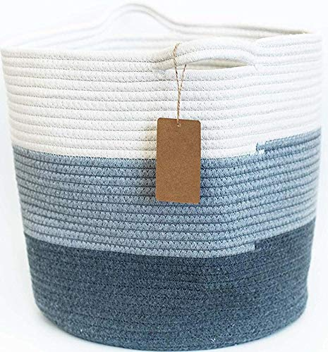 Woven Cotton Storage Basket With Handles - 14 inches X 15 inches - Use for Laundry Storage, Blankets, Bed Sheets, Toys, Baby Clothes - Cotton Rope Organizer - Coiled Round White Laundry Hamper