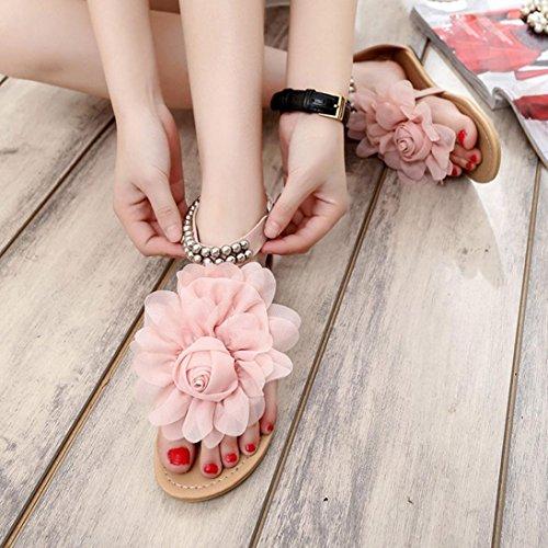 Sandalen, Yogogo Böhmen Wulstig Blume Sandals Rosa
