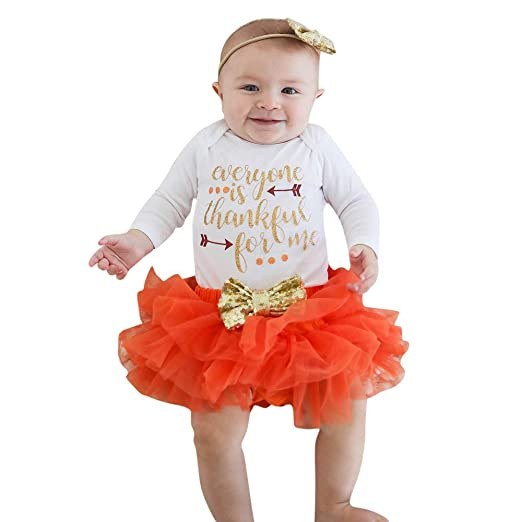 516d7f03d53c Amazon.com: YANG-YI Newborn Infant Baby Girl Letter Romper Tops+Tutu Skirts Thanksgiving  Outfit Set: Clothing