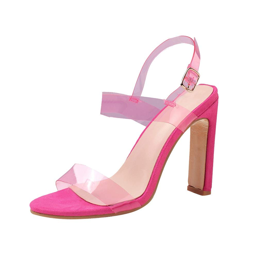 YKARITIANNA Fashion Women Summer Party Rough Heel PVC Transparent Sandals Wedding Shoes Hot Pink