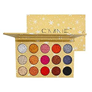 (A) - Shimmer eyeshadow Palette 15 Colours Matellic Pigmented Colourful Pressed Shimmer Glitter Eyeshadow Palette with Mirror Bare Minerals Blendable Bright Magnetic Eye Shadow Makeup Pallet (A)