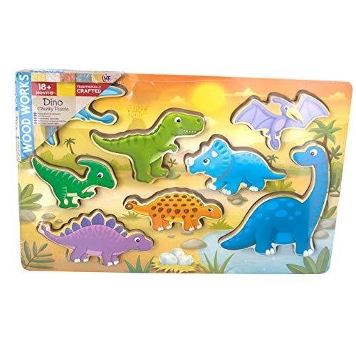 Wood Work 8 Piece 3D Dinosaur Chunky Wooden Puzzle ()