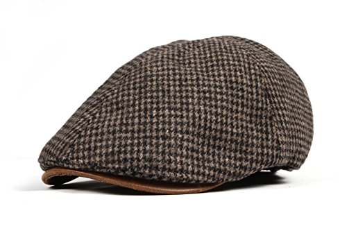 WITHMOONS Tweed Newsboy Hat faux leather brim Flat Cap SL3019 (Brown)