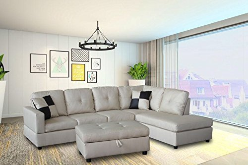 Legend 3 Piece Faux Leather Left-Facing Sectional Sofa Set with Free Storage Ottoman, Vanilla