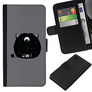 iBinBang / Flip Funda de Cuero Case Cover - Furry Cute Monster Horn Grey Eye - Sony Xperia Z2 D6502 D6503 D6543 L50t