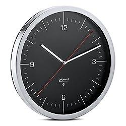 Blomus Crono Radio Controlled Wall Clock, with Dial, Stainless Steel Matt, Black, Ø 30 cm, 65437