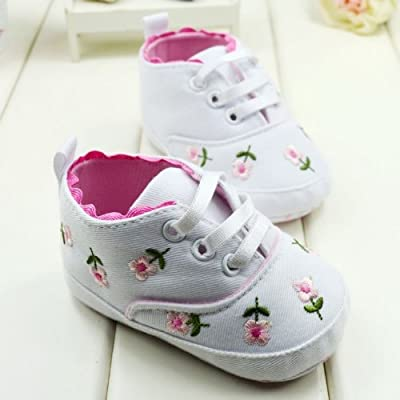 c19c6146a006 BOBORA Baby Kids Girls Toddler Embroidered Soft Bottom Baby Shoes 6-9 Months.  Loading Images... Back. Double-tap to zoom