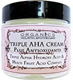 AHA Face Cream ORGANIC Natural Triple Alpha Hydroxy Acid & Multi Fruit Acids Complex. Lac­tic Acid, Glycolic Acid, Citric Acid, and Malic and Tartaric Acids Plus Antioxidants 2.5 OZ Glass Jar (2.5 OZ)