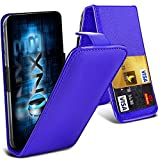 ONX3 (Blue) Samsung Galaxy A7 (2017) Universal Luxury Style Folding PU Leather Spring Clamp Holder Top Flip Case with 2 Cards Slot, Slide Up and Down Camera
