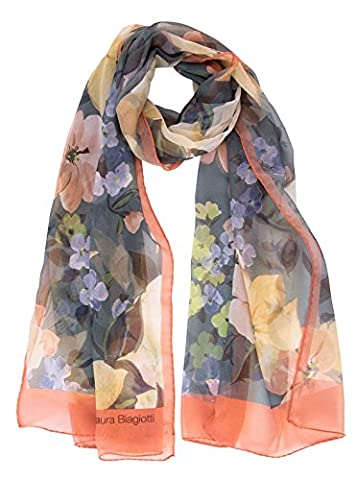 Laura Biagiotti Italian Designer Sheer Silk Long Fashion Scarf, Floral Print (Antique Blue) - Designer Sheer