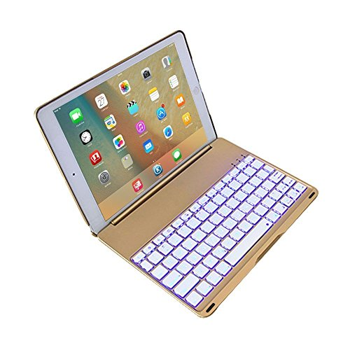 Gold Combo Footwear - 2017 New iPad 9.7 inch Keyboard Case Cover,JiiJian 7 Color LED Backlit Wireless Bluetooth Keyboard Auto Sleep Wake Function Protective Smart Folio Case Cover for 2017 New iPad/2018 iPad 9.7inch -Gold