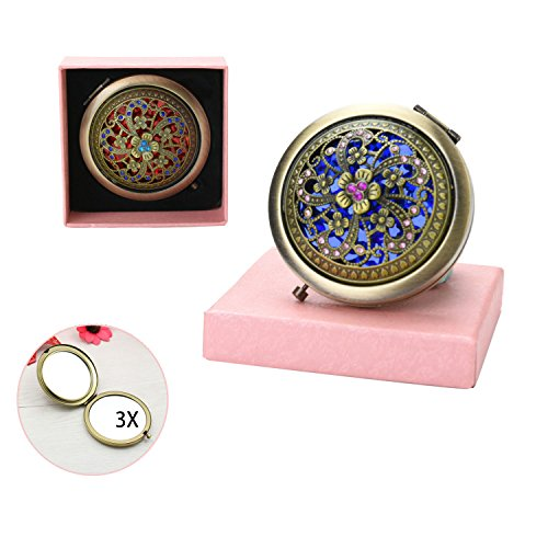 (VintageBee Vintage Makeup Mirror Folding Pocket Mirror Round Compact Mirror Double-sided Hand Mirrors Mother's Day gift (D))
