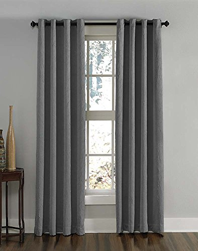 "Curtainworks Lenox Grommet Curtain Panel, 50 by 120"", Grey - ENERGY SAVINGS Room darkening, light reducing, improves sleep, adds privacy , Care-  Machine washable HIGH QUALITY/VALUE PRICE Panels hang and drape nicely with exceptional quality and affordable price SOFT & ELEGANT Casual curtains give your room a new look; make your home warm and welcoming - living-room-soft-furnishings, living-room, draperies-curtains-shades - 51xcTWIUjIL -"