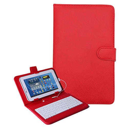 HDE 7 Inch Universal Tablet Case Hard Leather Folio Case Cover with Keyboard (Red) - Universal 7 Inch Tablet Hard Case