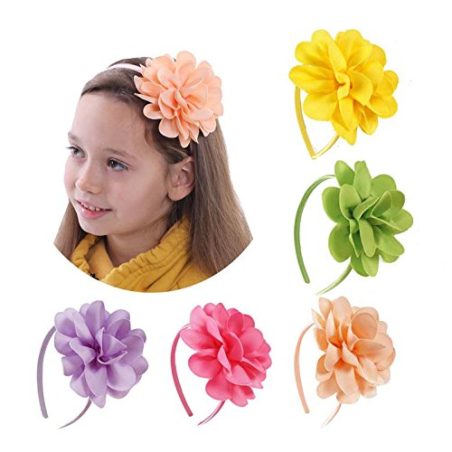 Tvoip 5Pcs Girls Boutique Grosgrain Ribbon Headband with Bows (Set2) ()