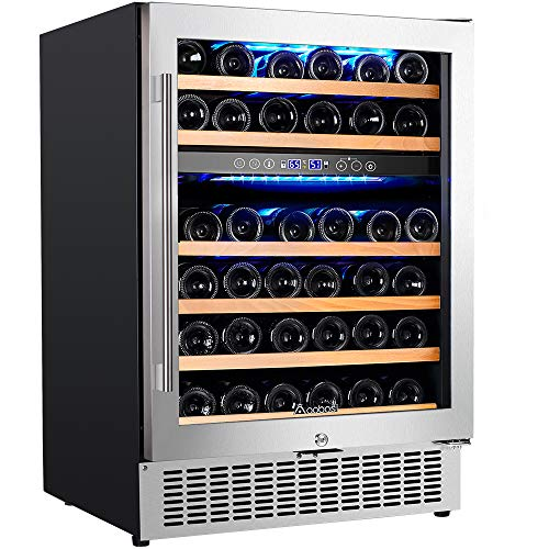 (【Upgraded】Aobosi 24'' Dual Zone Wine Cooler 46 Bottle Freestanding and Built in Wine Refrigerator with Advanced Cooling System, Quiet Operation, Blue Interior Light | Easily Store Larger Bottles)
