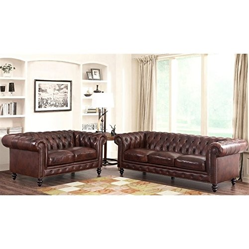 Abbyson Living Leather 2 Piece Sofa Set in Brown price