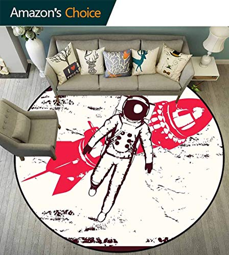 Vintage Round Rug Girls,Retro Space Travel Astronaut Over Planet Earth Original Solar Futuristic Art for Office,Hot Pink Maroon,D-43