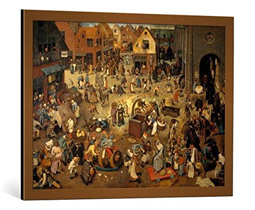 kunst für alle Framed Art Print: Pieter Brueghel der Ältere Fight Between Carnival and Lent - Decorative Fine Art Poster, Picture with Frame, 33.5x23.6 inch / 85x60 cm, Copper Brushed