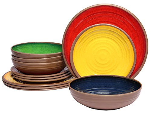 Melange 612409791344 12-Piece 100% Melamine Dinnerware Set (Clay Collection ) | Shatter-Proof and Chip-Resistant Melamine Plates and Bowls | Color: Multicolor | Dinner Plate, Salad Plate & Soup Bowl (4 - Dishes Unique Dinnerware Sets