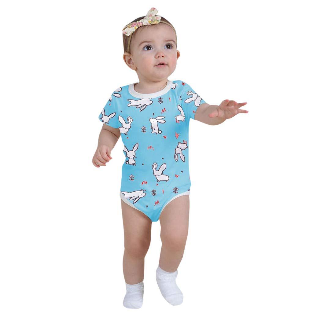 MILIMIEYIK Baby Sets Unisex Holiday Bunny Easter Spring Girls' Appliqued Skirt Dress Set Infant Short Rabbit Print Clothes Blue