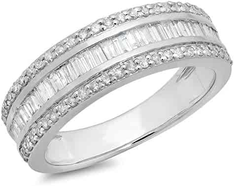 0.95 Carat (ctw) 10K Gold Round & Baguette Diamond Men's Anniversary Wedding Band Ring 1 CT