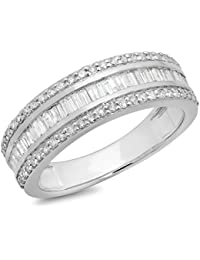 bdc90cb0a9d 0.95 Carat (ctw) 10K Gold Round   Baguette Diamond Men s Anniversary Wedding  Band Ring