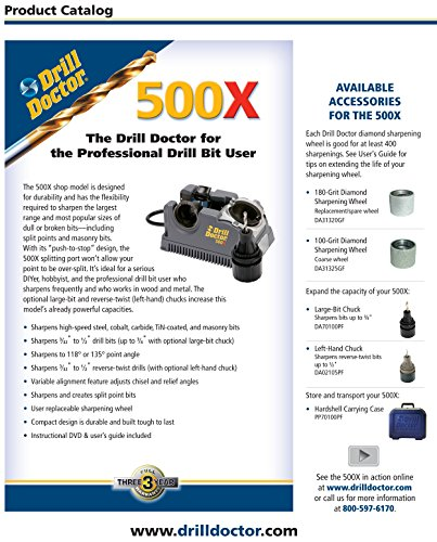 """Drill Doctor 500x Drill Bit Sharpener, Professional Design & Construction for Durability with Industrial-Strength Diamond Sharpening Wheel, Set Point Angles at 118° & 135°, Sharpens 3/32"""" to 1/2"""" standard twist bits"""