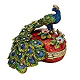 Heart Shaped Peacock Pewter Figurine Box - Swarovski Crystals, Jewelry Box, Keepsake