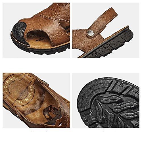 esterni in escursionismo pelle per traspirante Koyi uomo spiaggia sandali scarpe Khaki estate pantofole pescatore SU5AnPq7