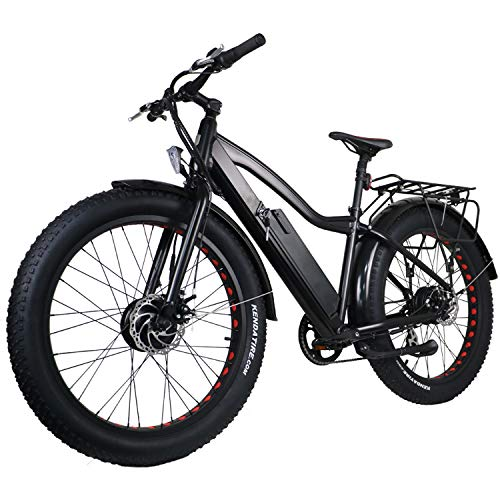 (easyum 26'' Bike 250W+300W 48V/10Ah Power Electric Bicycle 7-Speed E-Bike Speed up to 20 MPH with LED Lights and Multi-Function Display Mountain Beach Snow Bicycle-Black)