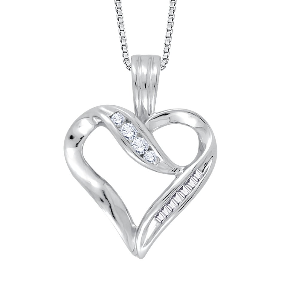 10k Baguette and Round Cut Diamond Heart Pendant with Chain in gold (1 6 cttw) (JKcolor I2 I3 Clarity)