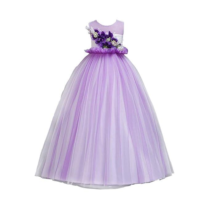 9473a3cf0 Zhhlaixing Vestido de Princesa para niñas - Chicas Dama de Honor Vestido  Sin Mangas Larga sección