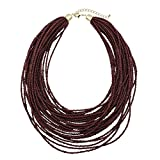 Bocar Multi Layer Chunky Bib Statement Seed Beads Cluster Collar Necklace Women Gift (NK-10351-deep Wine)